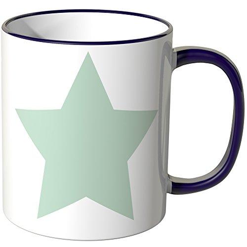 Wandkings® Tasse, Motiv: Mintfarbene Sterne - LILA (Lila Becher Tasse)