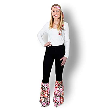 Unbekannt Hippie Kostüm, 70er Jahre Kostüme für Damen, Karneval +GRATIS Blumenstirnband (Rosa)