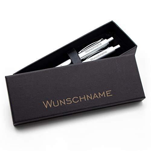 Schreibset mit Gravur, Kugelschreiber & Bleistift mit Namen in Geschenkbox