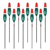 MagiDeal 10pcs Flotteurs de Pêche Bobbers Paulownia Bois Tackle Outils 2g/3g/4g/10g Accessoires - Rouge + Vert, 3g