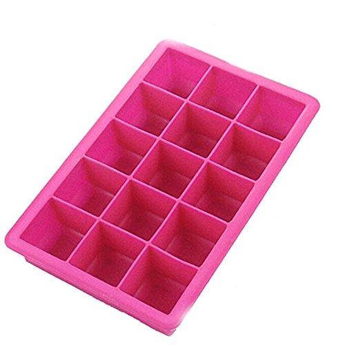lumanuby Silikon Eiswürfel Formen Farbwannen 15Rasterfeld Silica Gel Ice Lattice quadratisch Form DIY Eis Form (18,6* 11,8cm), Silikon, rosarot, 18.6*11.8CM