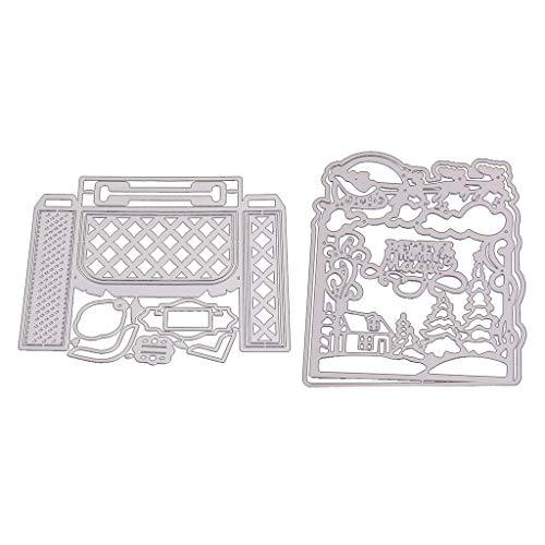 Xurgm - Set di 2 fustelle decorative per scrapbooking, in metallo, per decorazioni natalizie