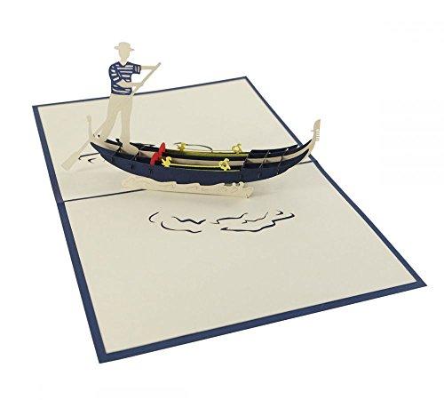 """3D KARTE""""Venezianische Gondel"""" I Venedig Pop-Up Karte als Reisegutschein I Klappkarte als Andenken/Souvenir aus Italien"""