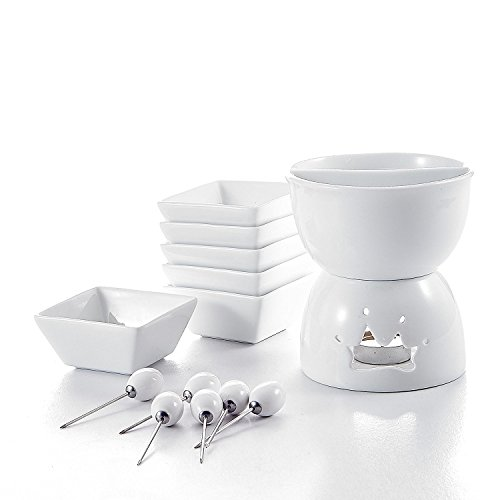 Malacasa, Series Favor, Two Compartments Ivory White Ceramic Porcelain Tealight Candle Cheese Butter Chocolate Fondue Set with 6 Dipping Bowls 6 Forks