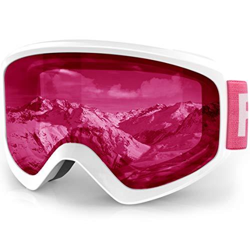 findway Skibrille Kinder, Snowboardbrille Helmkompatible Schneebrille Verspiegelt Snowboard Brille für Kinder Jungen Mädchen 3-12 Jahre OTG UV Schutz Anti- Nebel für Skifahren, Skaten, Snowboarden