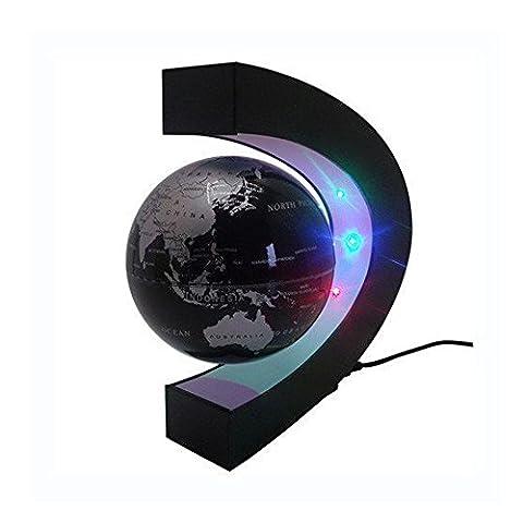 Megadream Magnetic Levitation Floating Political Globe World Map with C Shape Desktop Stand & LED Lights for Office & School Desk Toy Education - Black