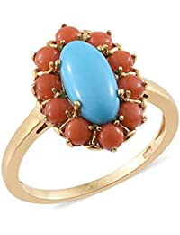 Sleeping Beauty Turquoise , Coral Ring in 14K Gold Overlay Sterling Silver 3 Ct