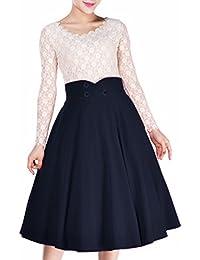 Miusol Damen Elegant Sommer Faltenrock Zweireiher Causal Business Vintage 1950er Jahr Röcke