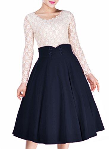 Miusol Damen Elegant Faltenrock Zweireiher Causal Business Vintage 1950er Jahr Roecke Navy Blau...
