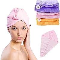NASONEB Quick Hair Drying Absorbent Microfiber Towel, Magic Hair Wrap for Women,Bathrobe Hat, Dry Shower Caps (1 Piece…