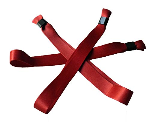 20 Stück Stoffbänder für Festivals mit Plastik-Schiebeverschluß - viele Modefarben (albion rot)