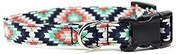 Ruff Roxy Aztec Sommer Schwarz und Türkis, Designer Baumwolle Hund Halsband, verstellbar handgefertigt Stoff Halsbänder, Small, Turquoise, Navy, Coral, Teal, Black