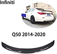 QCWY Car trunk Spoiler,Suitable for Infiniti Q50 rear roof lip 2014-2020 Carbon Fiber aileron tail Fixed wind