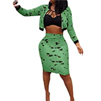 GAGA Women 2 Piece Outfits Floral Print Long Sleeve Crop Tops Zipper Coat and Skinny High Waisted Midi Skirt Green M