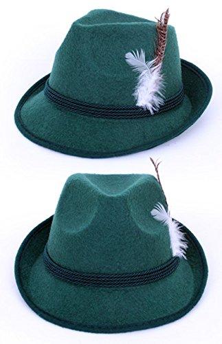 Tirolerhut Jäger Zillertal grün mit Feder (Grüner Hut)
