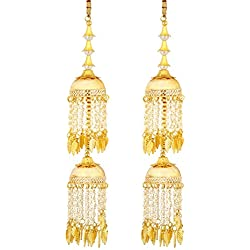 Mansiyaorange Traditional Wedding Wear Punabi Pearl kalere/Kaleera/Kalera/Bridal Hand Hanging/kaleera for Brides/Girls/Women(AAA AD Stone Premium Range)(10.5 inch Long 1.8 Inch Wide)