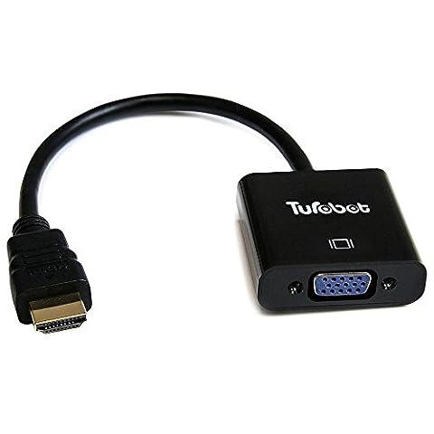 HDMI adaptateur - TUROBOT Chipset HDMI mâle vers VGA femelle Cordon vidéo Câble adaptateur convertisseur 1080p Noir