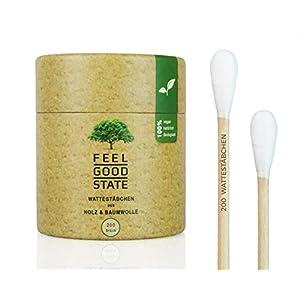 200 Wattestäbchen aus Holz von Feel Good State | Big Pack | 100% biologisch abbaubar; Nachhaltig und umweltfreundlich