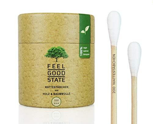 200 Wattestäbchen aus Holz von Feel Good State | inkl. Spender-Box im Bambus-Design | 100% biologisch abbaubar, nachhaltig und plastikfrei