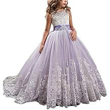 Longra Vestito in Pizzo da Bambino Ragazza Elegante Costume da Principessa  Tutu Partito Compleanno Bambini Vestito 5cef83aa555