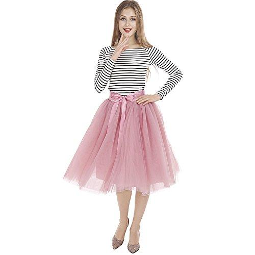 Tyhbelle Damen 7 Layer lang Tutu Tüll Röcke Gefalteter mit Gummizug Lolita Petticoat Tuturock (Mauverot) - 6