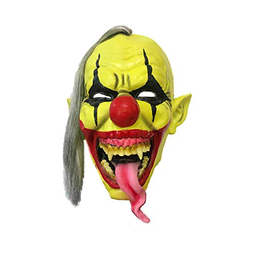 Gesicht Clown Maske Halloween Weihnachten Latex Maske Lustige Clown Maske Maskerade Dance Party Performance Cosplay Requisiten,Yellow-OneSize ()