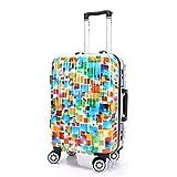 AIURBAG Bunte Quadratische Muster-Reise-Gepäcktasche,Hartschalenkoffer Aus Polykarbonat, 4 Leise 360 ° -Räder, TSA-Schloss, Teleskopgriffkoffer,28Inch