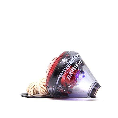 (YoyoFactory ELEC-TRICK LED Spin Top Mit Kugellager & Schnur - SCHWARZ / ROT (Beleuchtet, Freistil Tricks Spintop, Vom Anfänger Zum Profi, Schnur und Batterien Enthalten, toupie, trompo, spintop, peonza))