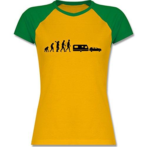 Shirtracer Evolution - Evolution Camper Wohnwagen - Zweifarbiges Baseballshirt/Raglan T-Shirt für Damen Gelb/Grün