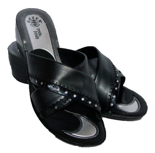Damen Keilabsatz-Schuhe für Sommer, lässig, Sandalen Schwarz