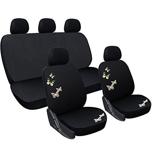 WOLTU AS7308 Set Completo di Coprisedili per Auto Macchina Seat Cover Universali Protezione per Sedile di Poliestere con Ricamo Farfalla Classici Nero