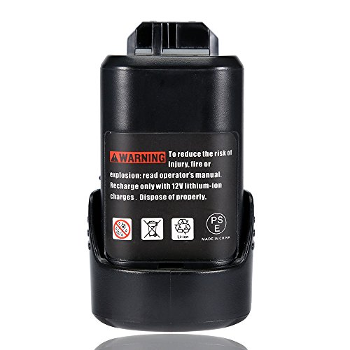 Rechargeable Batterie, 12V 2.0Ah Werkzeug Akku wiederaufladbare BAT411 Li-Ion Batterie Ersatz für Bosch 12v Akku Professional BAT411 BAT413 2 607 336 013 2 607 336 014, Werkzeug Batterie für Bosch Professional Appliances / Accessories / Tools / Power Tools, Kann mit dem Slide Tool Batterieladegerät aufgeladen werden (nicht originale Marke Bosch) - Topgio