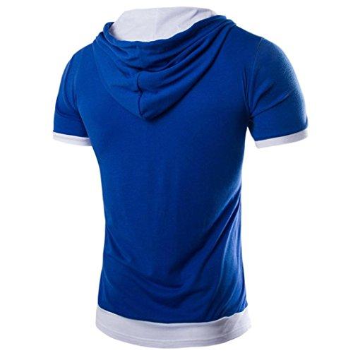 Rcool Männer Sommer Sport Kapuzen-Kurzarm-T-Shirt Tops Dunkelblau