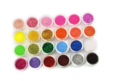 Poudre paillettée XI CHEN® en 24 couleurs de vernis pour décorer les ongles.