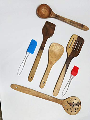 Kitchen Delli Wooden Handcrafted Cooking Spoons Spatula with Silicon Spatula Brush Set (WOODEN) - Set of 5