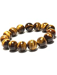 SAUBHAGYA GLOBAL Lab Certified Tiger Eye Stone Bead Bracelet form Men and Women (Brown, 8mm)