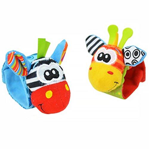 Baby Rattle, pulsera infantil de peluche suave educativa Rattles Play juguete regalos al azar color 2 piezas