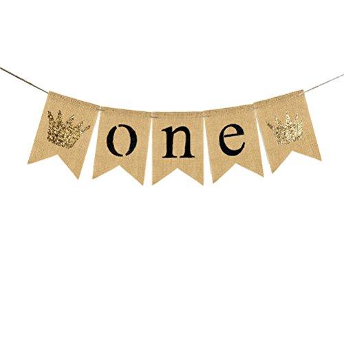 OULII ONE Brief Kronen Banner Baby Geburtstag Sackleinen Bunting Flaggen Garland hängende Ornamente für Babys erste Geburtstagsfeier Supplies (Beige) (Krone Banner)