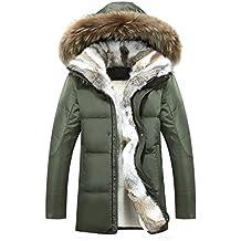 Chaqueta de Pato de Invierno para Hombre Chaqueta Masculina Engrosada cálido Cuello de Piel de Conejo