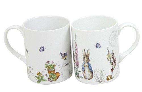 2 x Beatrix Potter Peter Hase blau grau weißes Porzellan Tassen (Mugs Blau Weiß)