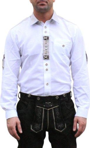 Trachtenhemd für Trachten Lederhosen mit Verzierung Trachtenmode wiesn weiß , Hemdgröße:3XL