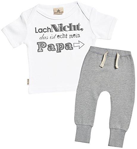SR - Lach Nicht das ist echt mein Papa Bekleidungssets - Baby Geschenkset - Weiß Baby T-Shirt & Grau Baby Jogginghosen - Babyoutfit - 12-18 Monate