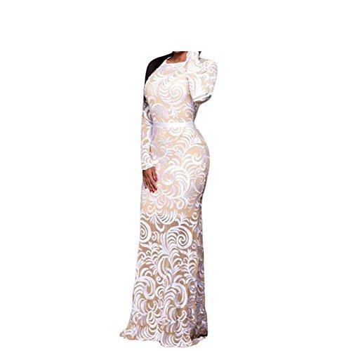 PU&PU Robe longue en mousseline de soie pour dames white