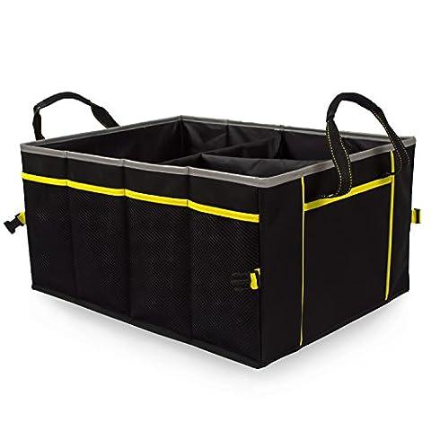 amoybay PREMIER Reflektierende Car Trunk Organizer Cargo Storage Langlebig Faltbare Tasche Abfalleimer für Auto Van LKW (Sedan Trunk)