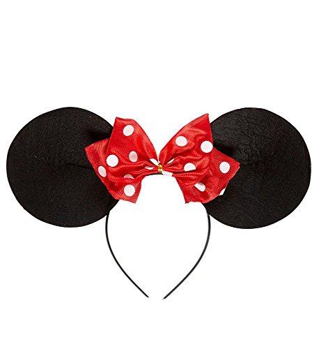 shoperama Schwarzer Haarreif Minnie Mouse Ohren mit rot weiß Gepunkteter Schleife Comic Haarschmuck Kostüm-Zubehör Mini