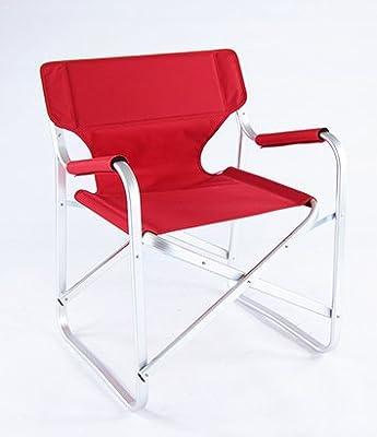 Onway Aluminium klappbarer Regiestuhl Campingstuhl Klappstuhl Rot / Portable Folding Director Chair Red