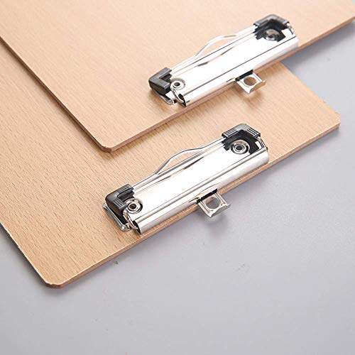 LATERN A4 Clipboards 6 Pack, Low Profile Clip Hardboard with Sturdy Spring Grip & Concealed Hanging Hole, Durable Wooden Clip Boards for Office Work