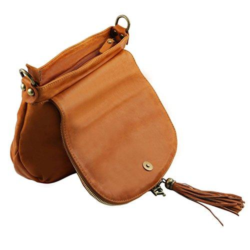 Tuscany Leather - TL Bag - Borsa morbida a tracolla con nappa Cognac - TL141223/6 Cognac