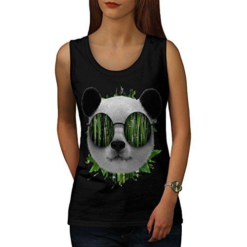 Bambus Panda Bär Cool Brille Damen Schwarz S-2XL Muskelshirt | Wellcoda Schwarz