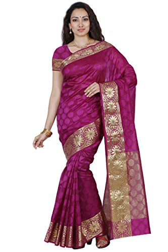 Mimosa Women's Organza Saree With Blouse Piece (2106-Mej,Magenta,Free Size)